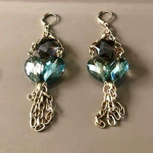 Jewelry - Gold Blue & Topaz Dangle Earrings
